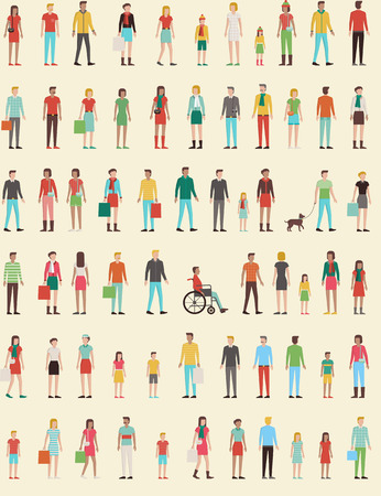 back  view: People seamless pattern with set of flat charachters, men, women, kids