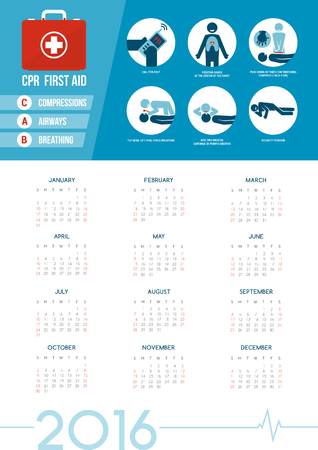 compressions: CPR and first aid kit calendar 2016 with medical supplies for emergencies, healthcare concept Illustration