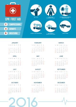 atmung: HLW und Erste-Hilfe-Kit Kalender 2016 mit medizinischen Hilfsgütern für den Notfall, Gesundheitswesen Konzept Illustration