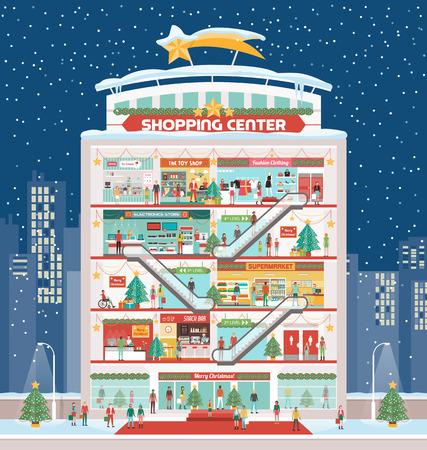 negozio: Centro commerciale invernale con decorazioni natalizie e allegro persone negozi, neve e skyline della città sullo sfondo