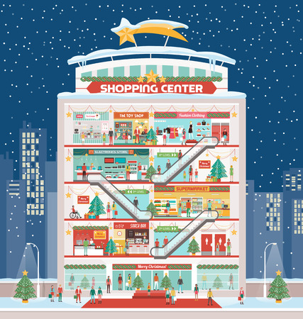 Winter shopping center with Christmas decorations and cheerful people shopping, snow and city skyline on background Stock Illustratie