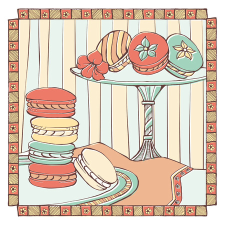 meringue: Hand drawn macarons on a dish, traditional french dessert