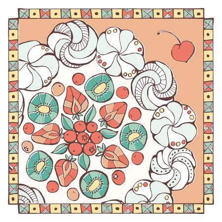 meringue: Pavlova dessert with fruit decoration hand drawn recipe, tasty eating and sweet food concept