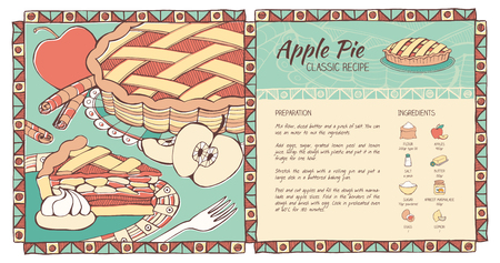 Apple pie hand drawn recipe with preparation procedure and ingredients