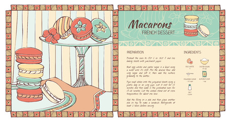 pasteleria francesa: Macarons dibujado a mano la receta tradicional francés, la alimentación saludable y hacer concepto de pastelería Vectores