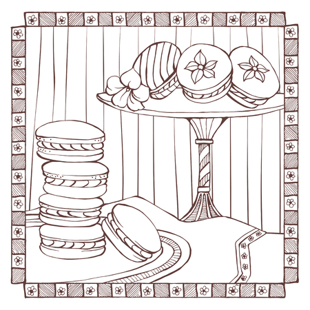 traditional french: Hand drawn macarons on a dish, traditional french dessert