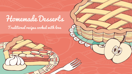 apple pie: Home made apple pie traditional pastry recipe banner, hand drawn