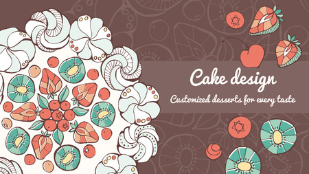 Pavlova and cake design hand drawn banner, pastry making and tasty eating concept