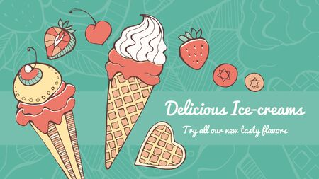 Delicious ice cream hand drawn banner with fruit, tasty eating and natural ingredients concept Illustration