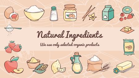 pasteles: Ingredientes naturales y la bandera dibujado a mano para cocinar, concepto de alimentación saludable Vectores