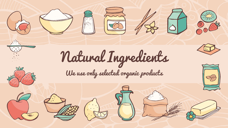 Natural ingredients and cooking hand drawn banner, healthy eating concept Illustration