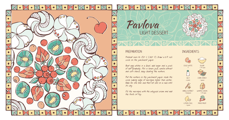 russian cuisine: Pavlova traditional recipe with fruit decoration and ingredients hand drawn, pastry cookbook layout template