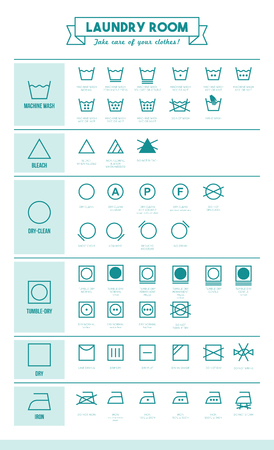 washing: Laundry and washing clothes symbols with texts poster
