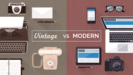 vintage phone: Work desktop and devices evolution, from typewriter to keyboard, business and communication technology evolution and improvement concept