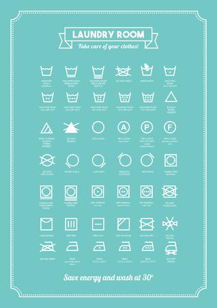 Wasserette en wassen van kleding symbolen met teksten poster