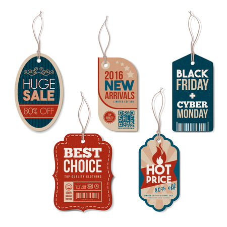 clothes hanging: Vintage tags with strings