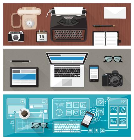 közlés: Múlt, jelen és jövő a technológia és eszközök, honnan írógép számítógépes és érintőképernyős asztali, üzleti kommunikáció javítása koncepció