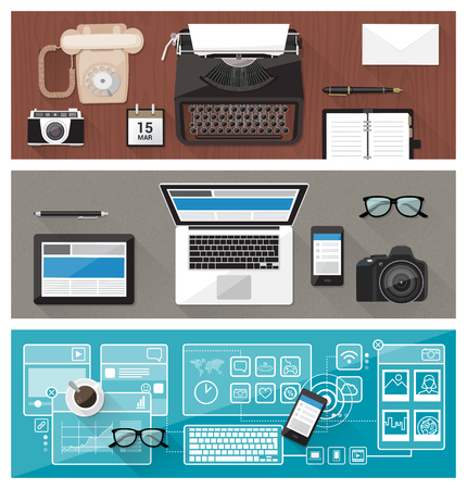 tecnologia: Passado, presente e futuro da tecnologia e dispositivos, de máquina de escrever para o computador de mesa e tela sensível ao toque, melhora conceito de comunicação empresarial Ilustração