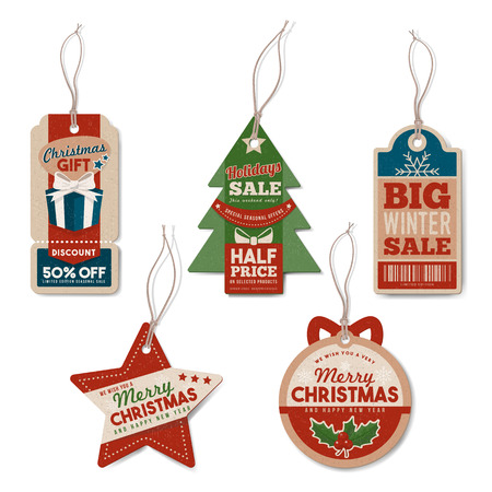 christmas baubles: Vintage Christmas tags set with string, textured realistic paper, retail, sale and discount concept