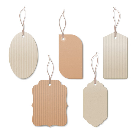 prices: Empty vintage tags with string on white background, sale and discounts concept