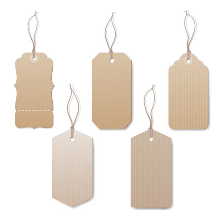 price cut: Empty vintage tags with string on white background, sale and discounts concept