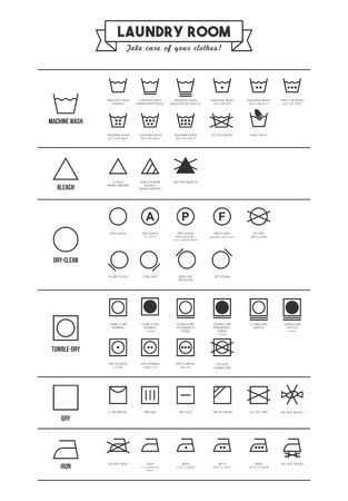 Servicio de lavandería y ropa de lavado símbolos con cartel de textos