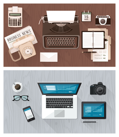 comparisons: Work desktop and devices evolution, from typewriter to keyboard, business and communication technology evolution and improvement concept