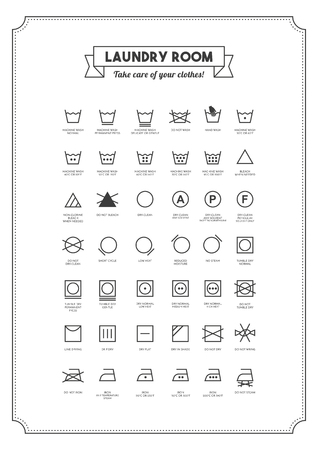 Laundry and washing clothes symbols with texts poster