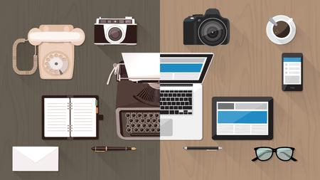 Escritorio trabajo y dispositivos de la evolución, de la máquina de escribir al teclado, la evolución del negocio y de la tecnología de la comunicación y el concepto de mejora