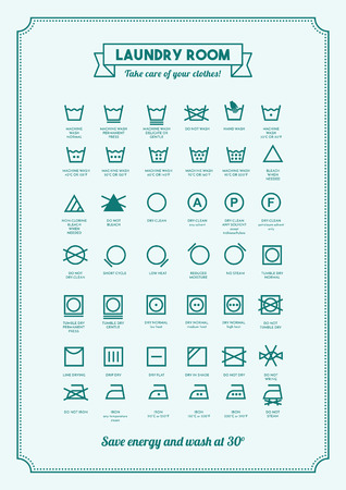 laundry care symbol: Laundry and washing clothes symbols with texts poster