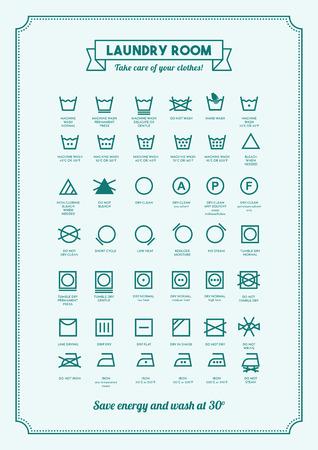 etiquetas de ropa: Servicio de lavandería y ropa de lavado símbolos con cartel de textos Vectores