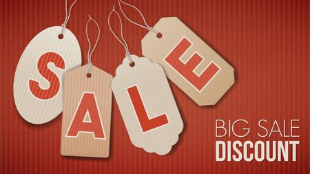 paper tags: Big sale banner with cardboard tags on red paper, discount and shopping concept