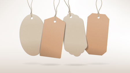 hanging string: Empty cardboard tags with string hanging on white background, salt and discount concept