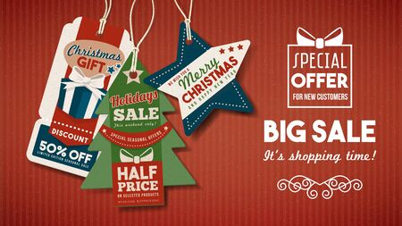 label tag: Christmas banner with big sale shopping tags on red paper background Illustration