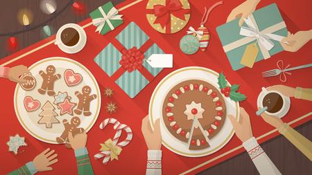 gente comiendo: Familia que celebra la Navidad en casa y comer juntos dulces deliciosos, galletas y postres, vista superior