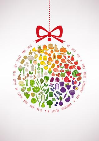 âhealthy: Vegan Navidad y tarjeta de alimentación saludable con verduras iconos en una bola de Navidad