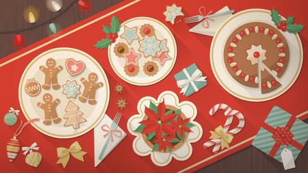 comida de navidad: Bandera de mesa de Navidad, platos con galletas, postres y hombres de pan de jengibre tradicionales, una flor de nochebuena y estuches de regalo, vista superior Vectores
