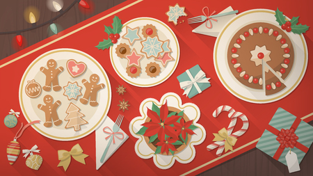 Christmas table banner, dishes with cookies, dessert and traditional gingerbread men, a poinsettia flower and gift boxes, top view