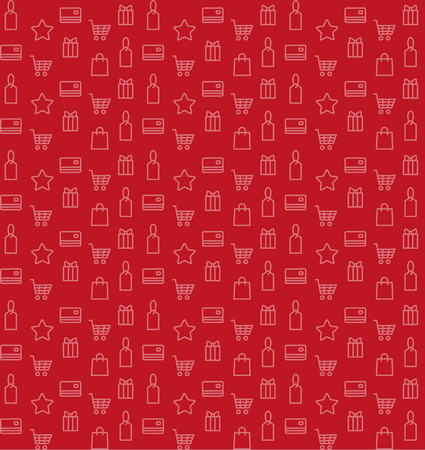 spending: Shopping seamless pattern with buying and spending icons