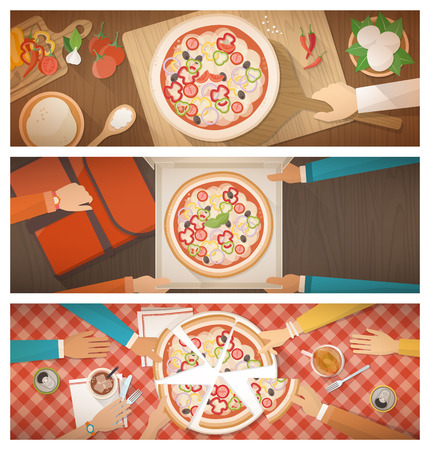 pizza ingredients: Pizza cooking at restaurant, home delivery and eating together at home, banners set Illustration
