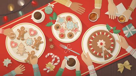 comida de navidad: Familia que celebra la Navidad en casa y comer juntos dulces deliciosos, galletas y postres, vista superior