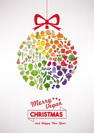 nutrici�n: Vegan Navidad y tarjeta de alimentaci�n saludable con verduras iconos en una bola de Navidad