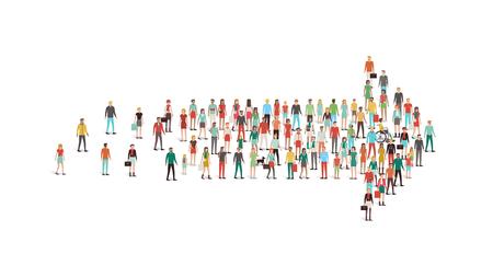 Tłum ludzi zgromadzonych w kształcie strzałki, przywództwo, wybór i kierunku koncepcji