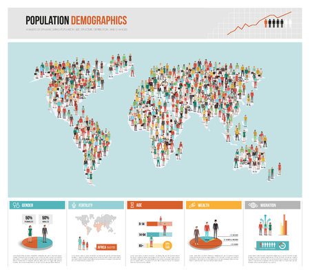 Population demographics infographic, world map composed of people and statistics, global politics and sociology concept