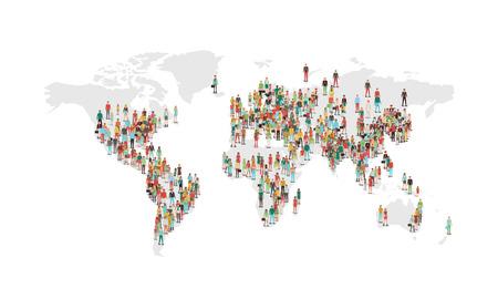 Mundo mapa de densidad de población, con personajes de vectores situados en las ares más pobladas, fondo blanco