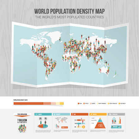 World population density map and demographic infographic