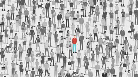 poblacion: Una persona de pie fuera de la multitud, la individualidad, la elección y el concepto listada gratuita Vectores