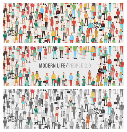 diversidad: Multitud de personas banderas Conjunto, gran número de hombres, mujeres, niños, diferentes grupos étnicos y el vestido, reunión social y la diversidad concepto Vectores