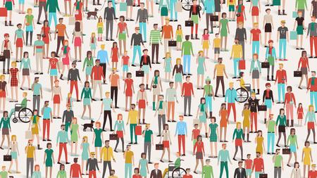 Multitud de personas bandera, hombres, mujeres y niños, diferentes grupos étnicos y prendas de vestir Vectores