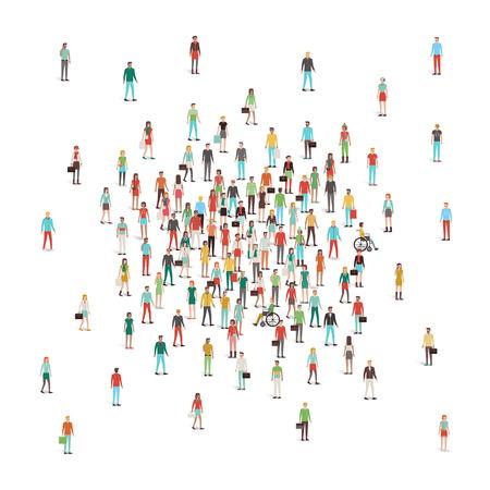 personas de pie: Multitud de personas que se reúnen en el centro, hombres y mujeres, diferentes grupos étnicos y prendas de vestir